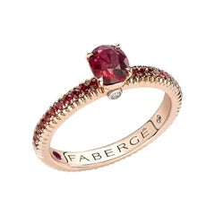 Fabergé Colours of Love Rose Gold Ruby Fluted Ring with Ruby Shoulders 831RG2514