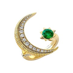 Fabergé Colours of Love Yellow Gold Emerald & Diamond Crescent Ring 1374RG2487