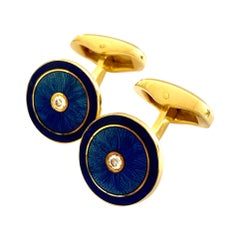 Fabergé Cufflinks, Blue Enamel and Each a Brilliant Cut Diamond, New, ca 2010