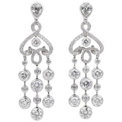 Fabergé Damask 18 Carat White Gold and White Diamonds and Pear-Shaped Earrings