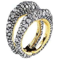 De Jour 18K Gold Diamond & Moonstone Encrusted Double Band Ring