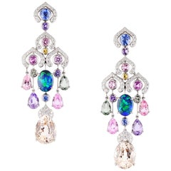 Fabergé Délices D'Été Collection Diamond Sapphire Black Opal Earrings