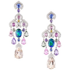 FABERGÉ Collection Délices D'Été Diamond Sapphire Black Opal Earrings