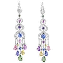 FABERGÉ Délices D'Été Earrings White Diamonds and Pear Shape Sapphires