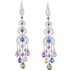 Fabergé Délices D'Été White Diamonds and Pear Shape Sapphires Earrings