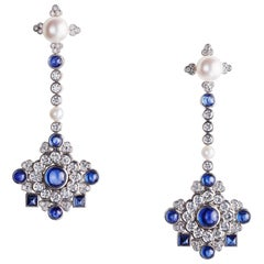 Fabergé Dentelle de Perles White Diamonds & Cabochon Blue Sapphire Stud Earrings