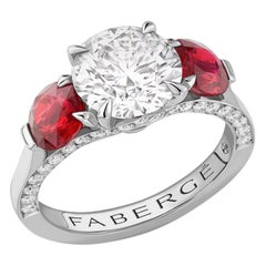 Devotion Diamond Ring with Round Ruby Shoulders