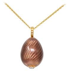 Modern Fabergé Diamond 18 Karat Gold Enamel Egg Drop Pendant Necklace
