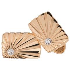 Fabergé Dimitri 18K Rose & White Gold Fluted Rectangular Cufflinks With Diamonds