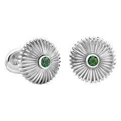 Fabergé Domed Fluted Silver Cufflinks with Green Topaz