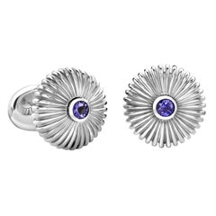 Fabergé Domed Fluted Sterling Silver Cufflinks with Iolite