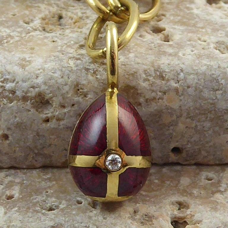 Faberge Easter Egg Charm Bracelet, Gold, Enamel, 0.18 Carat Diamonds, Boxed For Sale 7
