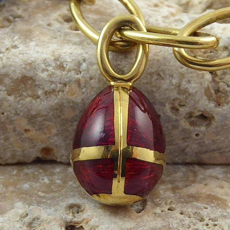 Faberge Easter Egg Charm Bracelet, Gold, Enamel, 0.18 Carat Diamonds, Boxed For Sale 8