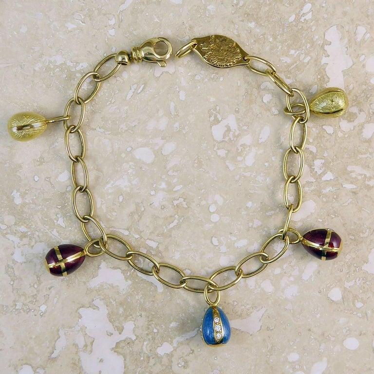 Faberge Easter Egg Charm Bracelet, Gold, Enamel, 0.18 Carat Diamonds, Boxed For Sale 12