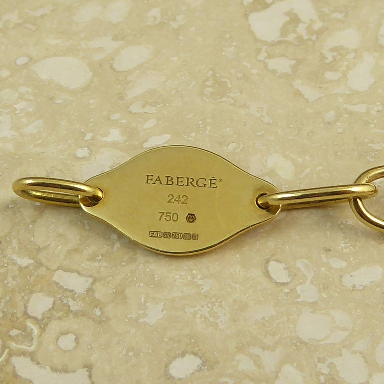 Faberge Easter Egg Charm Bracelet, Gold, Enamel, 0.18 Carat Diamonds, Boxed For Sale 5