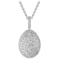 Fabergé Egg 18 Carat White Gold and White Diamonds Zarista Pendant Necklace