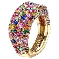 Fabergé Emotion 18K Yellow Gold Diamond & Multicolour Gemstone Encrusted Ring