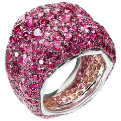 Emotion 18K Gold Pink Sapphire Encrusted Chunky Ring