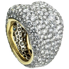 Fabergé Emotion 18 Karat Yellow and White Gold Diamond Encrusted Chunky Ring