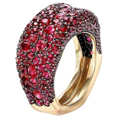 Emotion 18K Yellow Gold Ruby Encrusted Ring