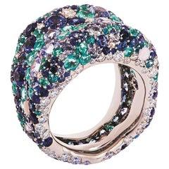 Fabergé Emotion 18K White Gold Diamond & Blue Gemstone Encrusted Chunky Ring