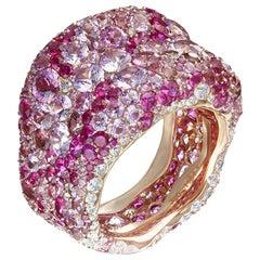Fabergé Emotion 18K Rose Gold Ring with White Diamond & Pink Gemstone