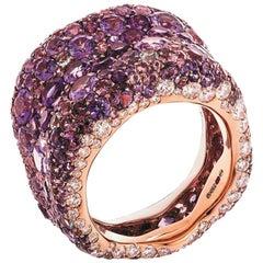 Fabergé Emotion 18K Rose Gold Ring with White Diamond & Purple Gemstone