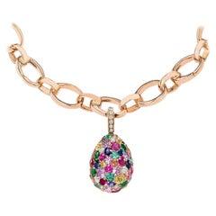 Fabergé Emotion 18K Rose Gold Diamond, Sapphire, Ruby & Emerald Encrusted Charm