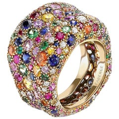 Fabergé Emotion 18K Yellow Gold Ring with Multicolour Gemstone and Diamonds