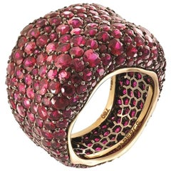 Emotion 18K Yellow & White Gold Ruby Encrusted Chunky Ring