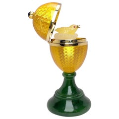 Modern Faberge Enamel and Yellow Gold Ltd. Edition Surprise Egg with Chick