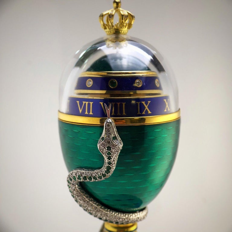 Art Nouveau Faberge Enamel, Diamond and Emerald Limited Edition Serpent Egg with Certificate For Sale