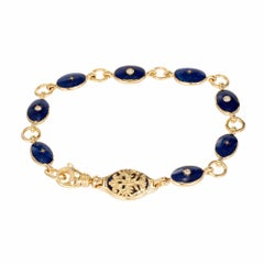 Modern Faberge Enamel Diamond Limited Edition Gold Double Sided Bracelet