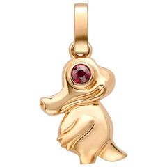 Fabergé Essence Rose Gold Crocodile Charm with Ruby Eyes