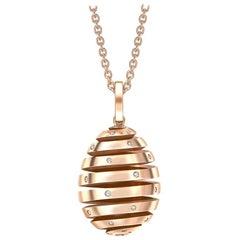 Fabergé Essence Rose Gold Diamond Set Spiral Egg Pendant