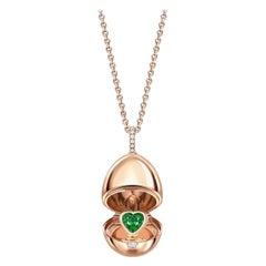 Fabergé Essence Rose Gold Emerald Heart Surprise Locket 1258FP2392