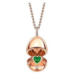 Fabergé Essence Rose Gold Emerald Heart Surprise Locket