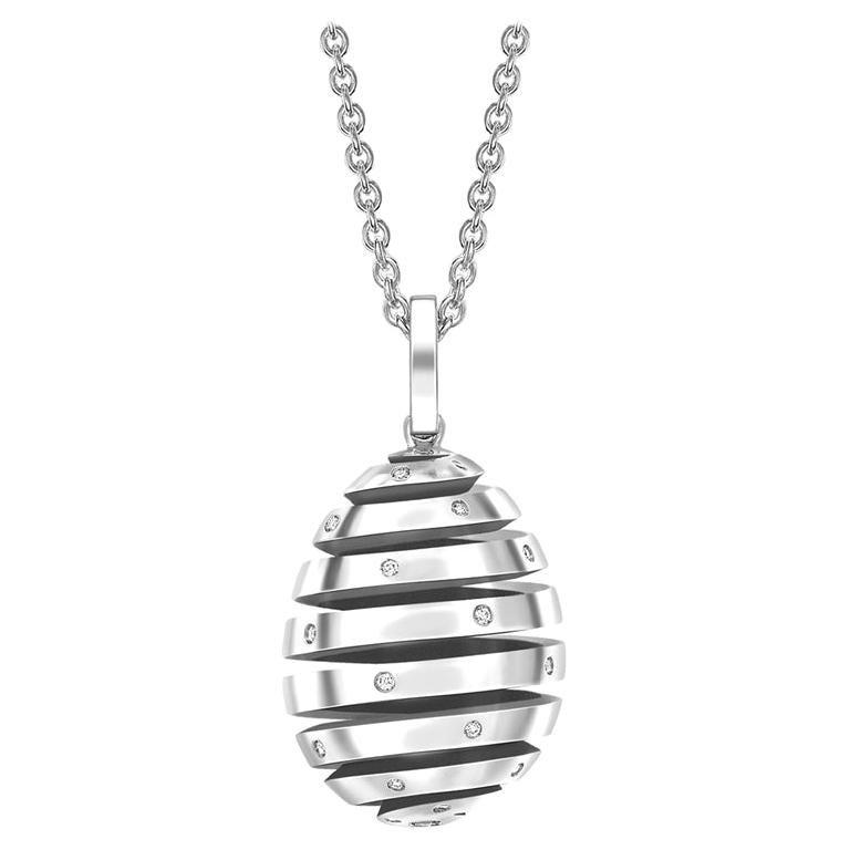 Fabergé Essence White Gold Diamond Set Spiral Egg Pendant