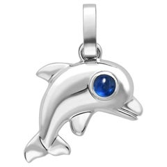 Essence White Gold Dolphin Charm with Turquoise Cabochon Eyes