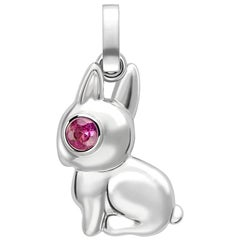Essence White Gold Rabbit Charm with Pink Sapphire Eyes