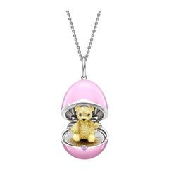 Fabergé Essence White & Yellow Gold Pink Lacquer Teddy Locket 1245FP2803