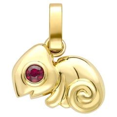 Essence Yellow Gold Chameleon Charm with Ruby & Emerald Eyes