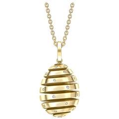 Fabergé Essence Yellow Gold Diamond Set Spiral Egg Pendant