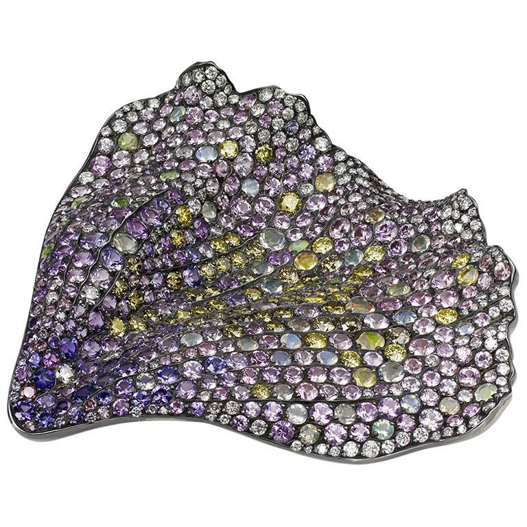Fallen 18K Gold & Silver Diamond Brooch With Opals & Demantoids