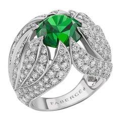 Fire 18K White Gold 5.68ct Round Demantoid Diamond Encrusted Wide Ring