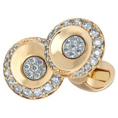 Fjodor 18K Rose Gold Round Diamond Cufflinks
