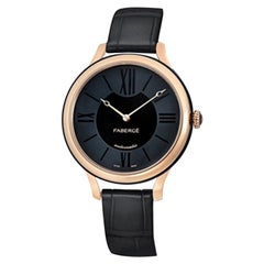 Fabergé Flirt Black and 18 Karat Rose Gold Watch