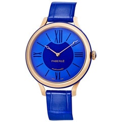 Fabergé Flirt Blue 18 Karat Rose Gold and Sapphire Watch