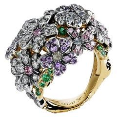Fabergé Forget Me Not 18K Gold Diamond & Coloured Gemstone Flower Ring