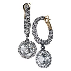 Fabergé Frédéric Zaavy Charmeuse Créoles Diamants Antiques 9.93 Carat Earrings